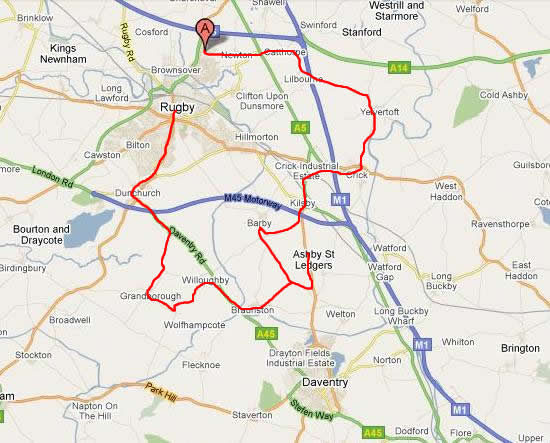 Rugby Two Wheeled Pub Crawl Route