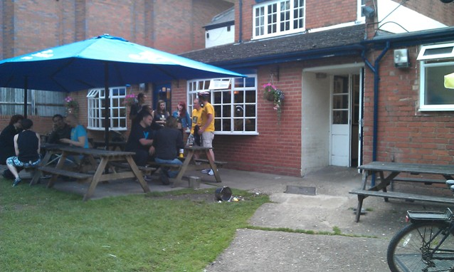 The beer garden of the Alexandra Arms in Rugby