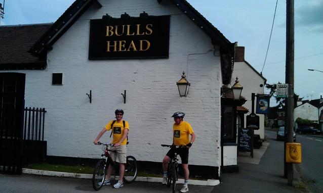 Outside the Bulls Head in Brinklow