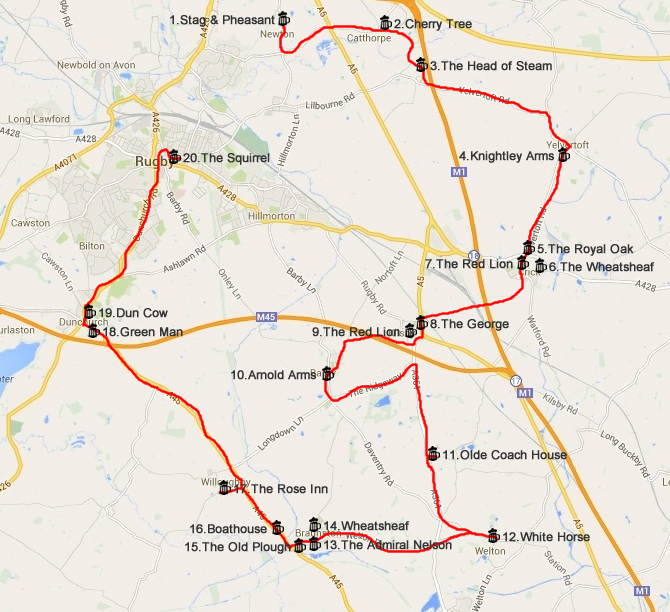 2014 two-wheeled pub crawl route map